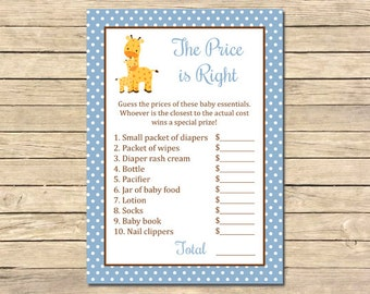 Blue Giraffe Price is Right Game, Giraffe Price is Right Printable Activity, Blue Boy Giraffe Printable Game, DIY Instant Download, 005-B