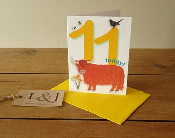 11th birthday card for boy or girl, innocent red highland cow design, 11 today, cute cards for kids, made in Britain