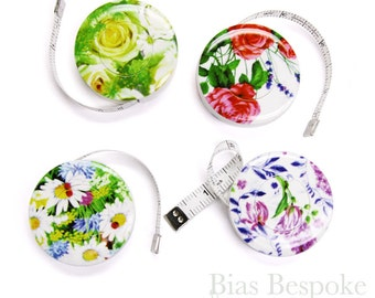 "Tulips, Roses & Daisies Retractable Tape Measures, 60"", Made in Germany"