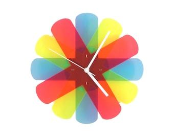 Colorful Décor, Wall Clock, Kids Room Wall Art, Office Gifts, Aterisk Wall Decor Clock, Unique Wall Art, Modern Wall Clock, Contemporary Art