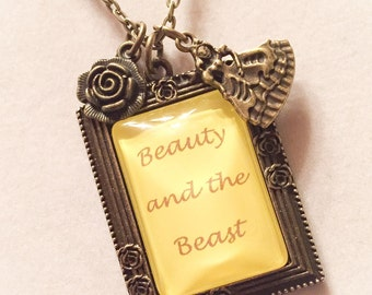 Beauty and the Beast pendant, Beauty and the Beast, disney inspired, disney jewelry, disney necklace, beauty and the beast necklace, Belle