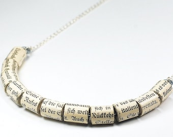 Paper Bead Jewelry- German Upcycled Paper Bead Necklace, German Jewelry, Paper Jewelry, Book Lover Gift by Tanith Rohe