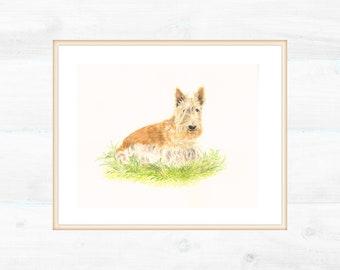 Custom portrait of your dog. Interior painting 14x18 cm