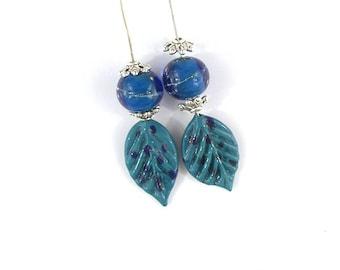 sra artisan lampwork glass leaf headpins set flameworked pattylakinsmith patty Lakinsmith matched pairs blue handmade