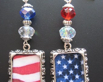 Patriotic Earrings Jewelry, American Flag Earrings, Stars and Stripes Earrings, Red White and Blue Earrings, Star Earrings,Freedom Earrings