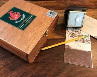 Vintage desk boho chic collection.  Vintage travel clock and vintage cigar box duo