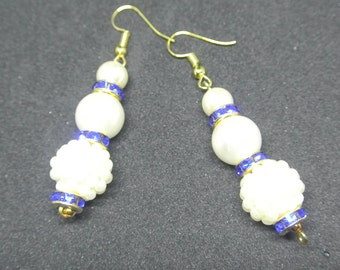 Earrings in Pearl and Blue Crystal. Handmade in the UK