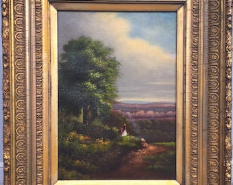 Oil Painting Landscape 19th Century Romantic Painting in Oil on Canvas.