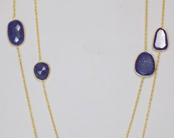 Lapis Lazuli Necklace Bezel Sterling Silver Long Chain Necklace