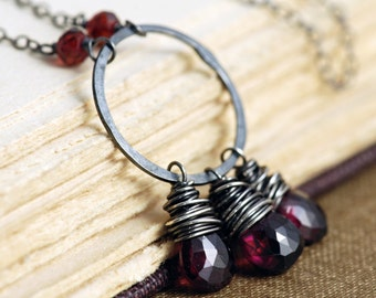 Garnet Pendant Necklace in Oxidized Sterling Silver, January Birthstone Jewelry, Handmade, aubepine