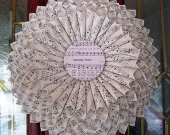 12 Inch Paper Wreath, Hymnal Wreath, Music Paper Wreath, Vintage Paper Wreath, Amazing Grace