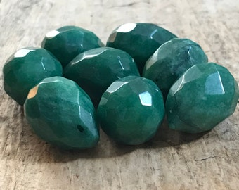 8pc 25x18mm Emerald Faceted Tear Drop, Large Briolette, Glass Tear Drop, May, Destash Jewelry Making Supplies, Jewelry DIY, Jewelry Supply