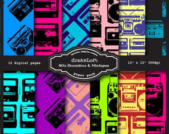 80's Boombox & Mixtapes Digital Papers for packaging, cards, stationary, invitations, scrapbooking and all paper crafts