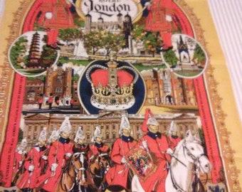 Vintage 1981Royal London Kitchen Towel/Albert Memorial/Buckingham Palace