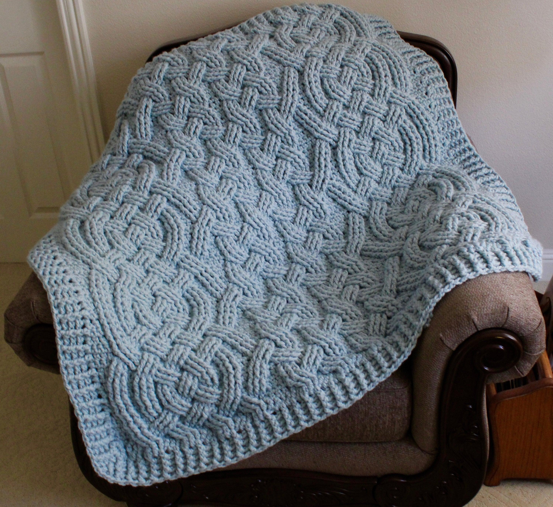 Moonbeam Cable Braided Blanket Throw Afghan Crochet Pattern for Men ...