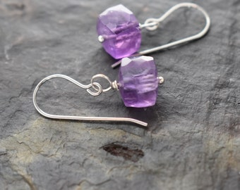 Amethyst Earrings, Ultra Violet, Amethyst Jewelry, February Birthstone, Gift for her, Amethyst Lover Gift, Simple Small Gemstone Earrings