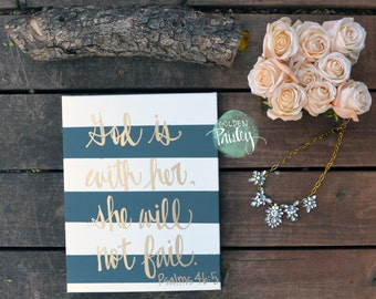 Bible Verse Canvas Painting Canvas Wall Hanging Gray Striped Gold Calligraphy Wall Art Wall Decor Home Decor Bible Verse Sign Nursery Art