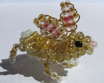 Miniature Bunny with seed beads and copper wire