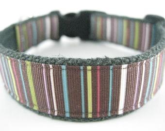 Hemp dog collar - Chocolate Stripe