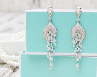 White Gold Wedding Jewelry | Zircon Crystal Earrings | Bridal Earrings | Bridesmaid Earrings | Chandelier Earrings | Weddings | Prom