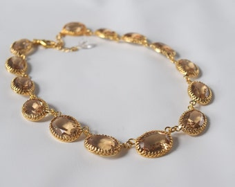 Gold Collet Necklace, Light Colorado Topaz Swarovski Crystal Necklace, Light Brown Riviere Necklace, Anna Wintour Necklace, Tan Wintour 18th