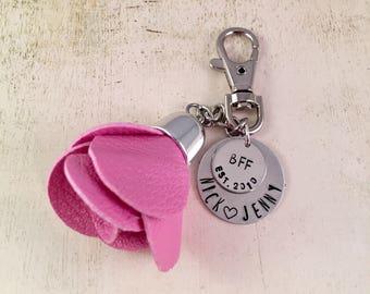 Girlfriend Gift, Best Friend Gift, Floral Tassel Charm Keychain, Flower Keychain, Rose Tassel,  For Best Friend, Purse Charm, Tote Charm