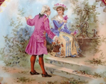 Antique VICTORIAN KARLSBAD AUSTRIA Romantic Porcelain Cabinet Plate Fragonard Cameo Courting Couple French Cottage Chic