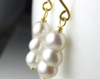 Pearl Stack Earrings in Vermeil