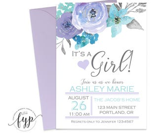 It's A Girl Baby Shower Invitation - Girl Baby Shower Invite - Floral Baby Shower - Baby Girl Invites - Lavender Baby Shower - Shabby Chic