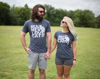 Matching tees, Pet Couples gift, Best friends, His and hers, Couples gift set, funny tshirts, boyfriend gift, Real Men Love Cats, cat lady