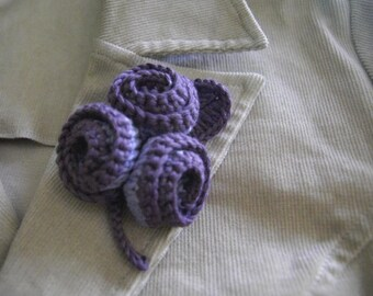 Organic Cotton Crochet Flower Brooch in Amethyst Color