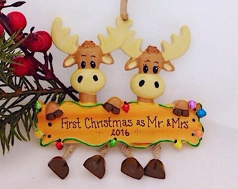 Moose Couple Personalized Christmas Ornament / Moose family ornament / big family Christmas ornament