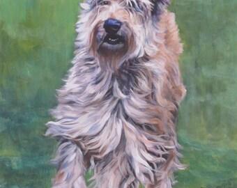 "Berger Picard Picardy shepherd CANVAS PRINT of LAShepard dog painting art 12x16"""
