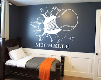 Custom Tennis Ball Bursting Through Wall Decal - Custom Sports Decal Tennis decal custom wall decals sports wall decal kids room decor & Custom Kids Name Football Wall Decal Custom Sports Decal