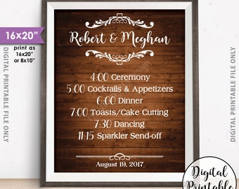 """Wedding Schedule Sign, Wedding Day Events, Reception Schedule Wedding Itinerary List of Events, 8x10/16x20"""" Rustic Wood Style Printable Sign"""
