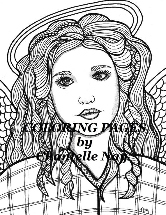 Malbücher Seite Engel Frau Gesicht Erwachsener Färbung