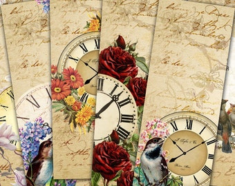 75% OFF SALE Summer Clocks - Digital bookmark B003 collage sheet printable download image size digital image Flowers collage Birds hang tags