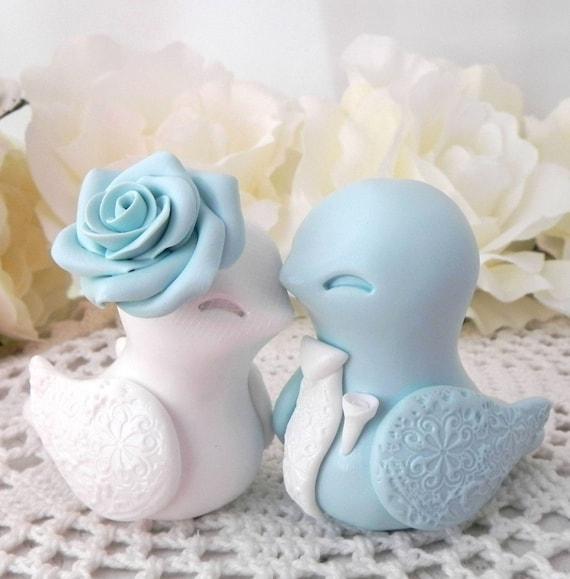 Love Bird Wedding Cake Topper, Light Blue and White, Bride and Groom Keepsake