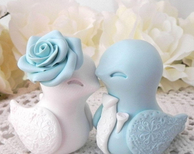 Love Bird Wedding Cake Topper, Light Blue and White, Bride and Groom Keepsake