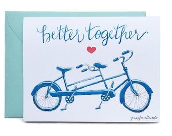 Better Together bike card love wedding greeting card