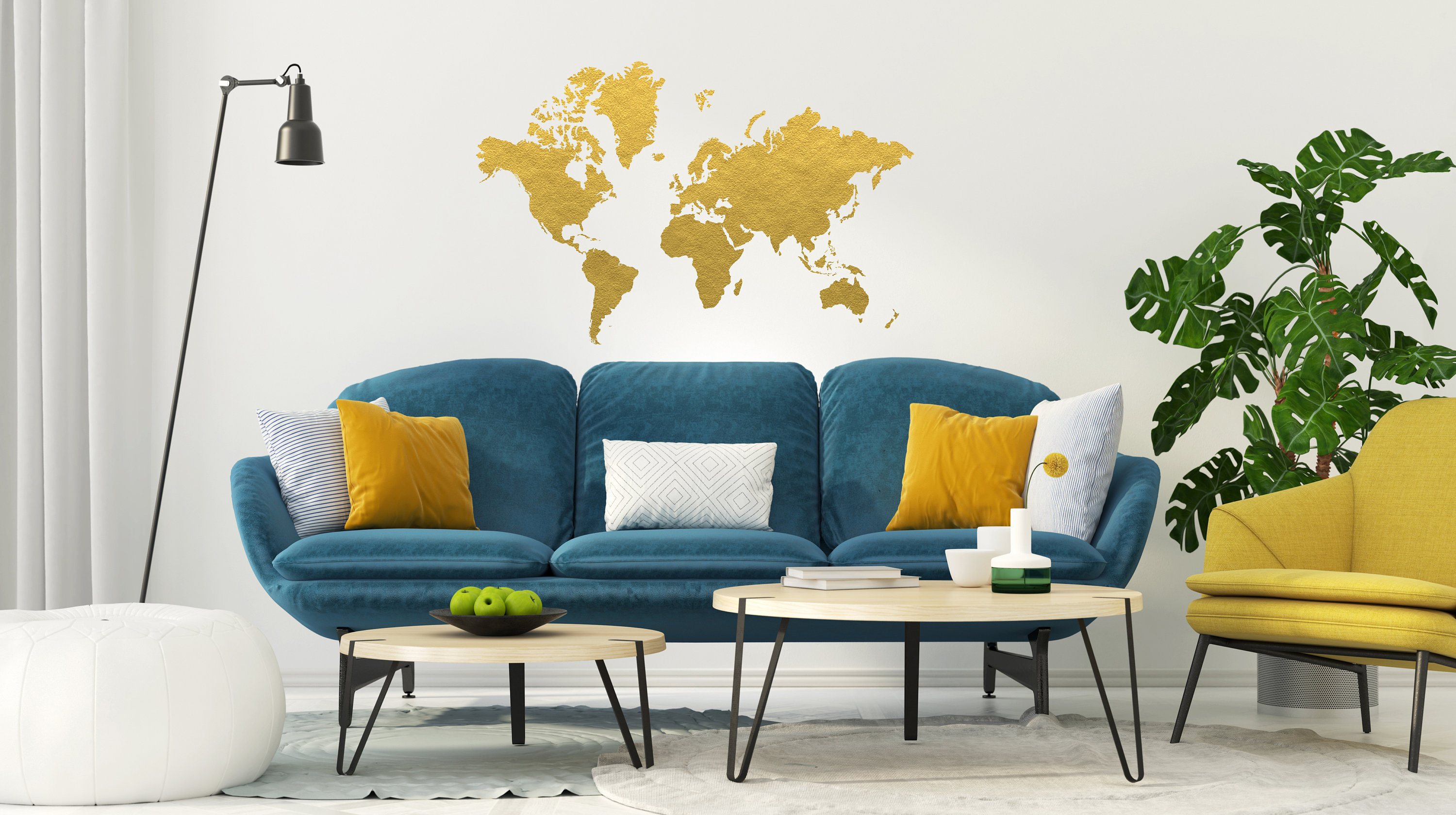 Gold world map wall decal gold office decor bedroom wall zoom gumiabroncs Choice Image