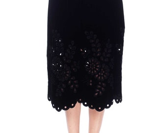 Fitted Black Velvet Maxi Skirt With Cutwork Embroidery Size: S