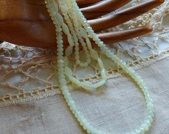 Opalescent Yellow Glass Beads  Mixed styles beads De stash pale yellow Czech Glass beads Jewelry Supply