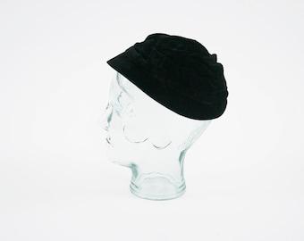 Vintage 1970's Black Velvet Hat - Brim Bucket Hat