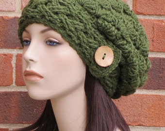 Crochet Hat Slouchy Beanie Cabled Hat Womens Slouch Hat Winter Accessories // THE AISLINN // Olive Green