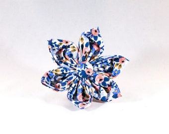 Periwinkle Les Fleurs Girl Dog Flower Bow Tie