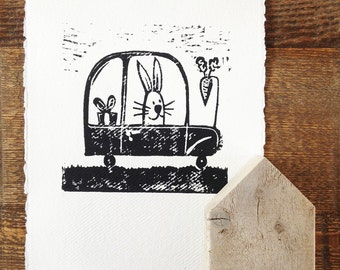 childrens wall art - bunny rabbit - original linocut print - rabbit in car