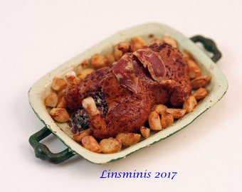 12th scale handmade miniature roast chicken.