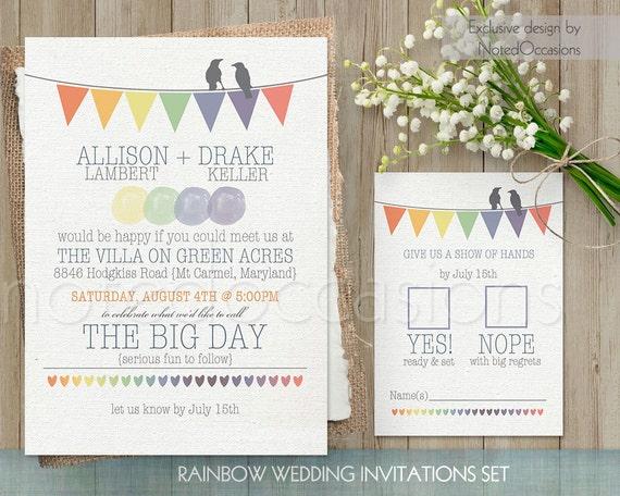 Rustic Wedding Invitation Printable Set Rainbow Wedding