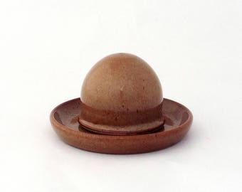 Salière magique et sa coupelle, couleur caramel, grès